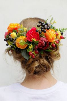 35762ab41c5b Bridal flower crown back headpiece floral half wreath hair accessories  yellow orange red harvest boho rustic Autumn Fall wedding accessories