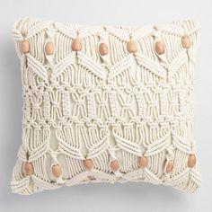 Macrame and Wood Bead Indoor Outdoor Throw Pillow