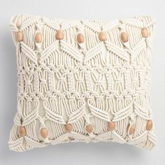 One of my favorite discoveries at WorldMarket.com: Macrame and Wood Bead Indoor Outdoor Throw Pillow