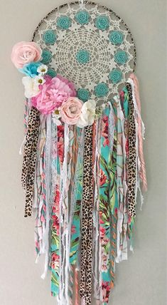 Pink and Turquoise Leopard Rose Shabby Chic Vintage Boho Dream Leopard Room, Lace Dream Catchers, Girls Camp, Dreamcatchers, Art Work, Shabby Chic, Diy Projects, Craft Ideas, Turquoise