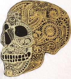 """Amazon.com: [Single Count] Custom and Unique (5.5"""" x 4.5"""" Inch) """"Spooky"""" Ornate Mandala Pattern Mexican Sugar Skull Iron On Embroidered Applique Patch {Black & Yellow Colors}"""