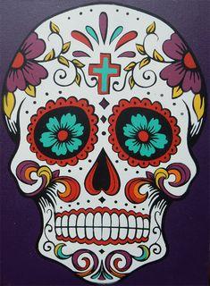 Sugar Skull Stenciled Canvas — Crafthubs