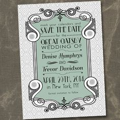 Vintage Great Gatsby Style Art Deco - cute save the date from etsy Great Gatsby Wedding, 1920s Wedding, Art Deco Wedding, Gatsby Party, Dream Wedding, Great Gatsby Fashion, Wedding Invitation Inspiration, Vintage Invitations, Gatsby Style