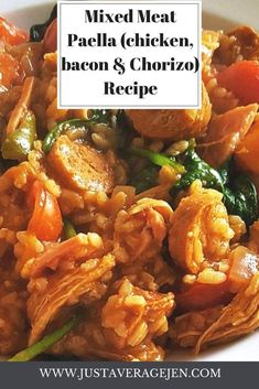 Delicious mixed meat paella Slimming World recipe - syn free Slimming World Paella, Slimming World Chicken Dishes, Slimming World Sausages, Slimming World Recipes, Chorizo Recipes, Bacon Recipes, Rice Recipes, Syn Free Sausages, Chicken Paella