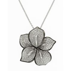 Effy Pave Classica 14Kt. White Gold &  Flower Necklace ($1,520) ❤ liked on Polyvore featuring jewelry, necklaces, accessories, collares, diamond, druzy pendant necklace, pendants & necklaces, pave necklace, flower pendant necklace and white gold necklace