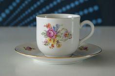 Sold // Vintage Moritz Zdekauer Bone China rose tea cup and saucer set
