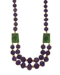 AN AMETHYST, JADE AND GOLD NECKLACE, MOUNTED BY DIEGO PERCOSSI PAPI