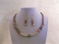 In the Pink Genuine Rhodochrosite & Silver 17 inch Necklace & Earrings Set for sale at PSP Unique Jewelry @etsy.com Gemstone Jewelry, Unique Jewelry, Beautiful One, Psp, Earring Set, Beaded Necklace, Gemstones, Silver, Fashion