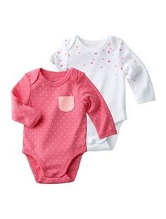 £11 Pack of 2 Newborn Baby's Long-Sleeved Bodysuits White / dots + pink dot