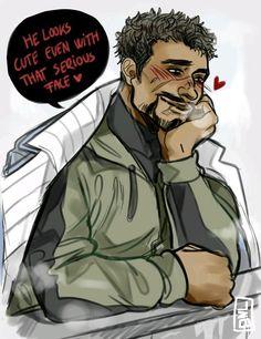 Gabriel admirando a su novio. Reaper76 Gabriel/Jack
