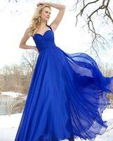 Floor Length Pleated Empire Waist Chiffon Halter Long Royal Blue Prom Dresses Free Shipping MN120