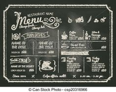 Vector - Restaurant Food Menu Design with Chalkboard Background - stock illustration, royalty free illustrations, stock clip art icon, stock clipart icons, logo, line art, EPS picture, pictures, graphic, graphics, drawing, drawings, vector image, artwork, EPS vector art