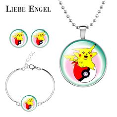 Find More Jewelry Sets Information about LIEBE ENGEL New Pikachu Jewelry Sets Necklace Stud Earrings Bracelet Pokemon Glass Cabochon Pokeball Jewelry For Women,High Quality jewelry for special occasions,China earring jewelry designs Suppliers, Cheap jewelry box sterling silver jewelry from LIEBE ENGEL Official Store on Aliexpress.com