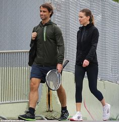 Hilary Swank works up an appetite during tennis match with boyfriend Laurent Fleury