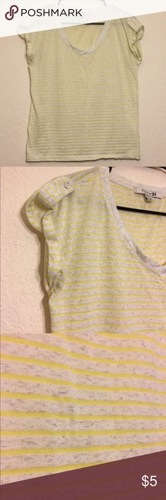 Striped Heather Gray and Yellow Box Tee Forever 21 loose fitting box tee with button detail on the shoulder. Yellow stripes with heather gray. 58% rayon, 42% polyester. Forever 21 Tops Tees - Short Sleeve