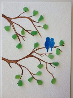 Blue love birds sitting on a branch with sea glass leaves, sea glass art, – Beach glass jewelry Sea Glass Beach, Sea Glass Art, Stained Glass Art, Sea Glass Jewelry, Glass Necklace, Glass Vase, Silver Jewelry, Sea Glass Crafts, Sea Crafts