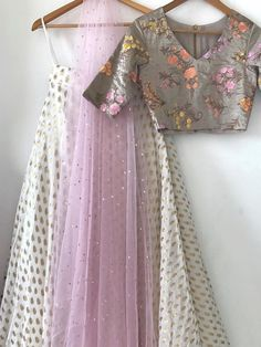 Silk thread embroidered tussar chanderi blouse with gold and white brocade skirt in georgette, soft net pure baadla dupatta completes this dainty lehen Indian Look, Indian Ethnic, Indian Dresses, Indian Outfits, Indian Clothes, Indian Attire, Indian Wear, Indian Lehenga, Lehenga Designs