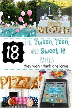 18 Epic Tween, Teen, and Sweet 16 Parties They Won't Think Are Lame (Cool Pools Party)It's really not difficult to throw together your own professional-looking photo shoot.Here are 25 drop dead gorgeous DIY photo backdrops for kids, parties, food 13th Birthday Parties, Birthday Party For Teens, Sleepover Party, 16th Birthday, Birthday Party Themes, Tween Party Ideas, Teen Party Themes, Sweet 16 Party Themes, Diy Birthday Decorations For Teens