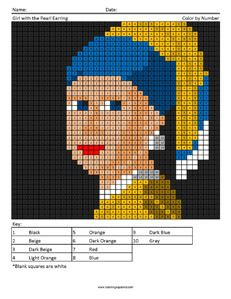 Girl with a Pearl Earring- Adult Coloring Books