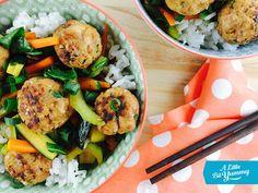 Low FODMAP cilantro and lemongrass pork meatballs with Asian veggies