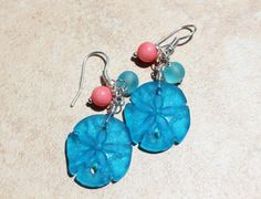 Lovely Dark Aqua Sand Dollar Sea Glass Dangle by InaraJewels, $19.95