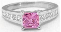This is a pretty one for my right hand. Replace the one i had to sell.   Princess Cut Pink Sapphire Engagement Rings (GR-5773)