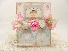 Vintage tea party style card with bunting and stitching.