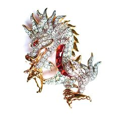 Retired Swarovski Dragon Brooch Jewelry Swan by silvermoonstars