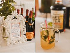 Frame listing wines, and lemon & firefly drinks upon arrival. Guest could take handled mason jars home as gifts too??