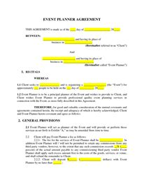 Event Planner Contract Template for WORD | Word & Excel Templates ...