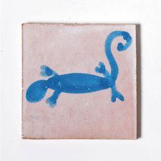 "Fliese ""gecko"", blau/rosa, L 10 cm, B 10 cm, H 1cm"