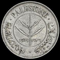 Palestine 1939 Silver 50 Mils, EF