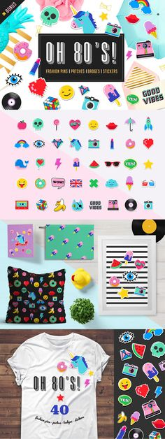 Hello 80's and welcome back! 40 chic, cute pop art icons. Perfect for fashion patches, pins, stickers, badges, temporary tattoos, birthday cards design etc..