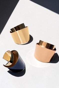 """The Chloé Spring 2015 Accessories Collection – """"Erika"""" lacquered brass cuff, """"Erika"""" brass cuff"""