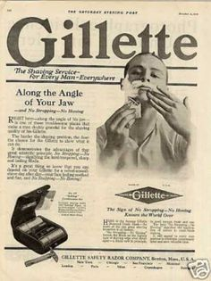 When you're sitting and thinking up new ads what could be better than a treasure chest of vintage ads. Check this out: Loads of vintage ads, like this Gillette ad from Just write the name of the brand and.