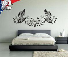 Floral Flower Butterflies Wall Decor Art Vinyl Removable Mural Decal