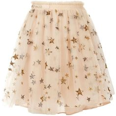 Valentino Star-Embroidered Tulle Mini Skirt ($4,870) ❤ liked on Polyvore featuring skirts, mini skirts, sequin skirt, short pleated skirt, beige skirt, tulle slip and layered skirt