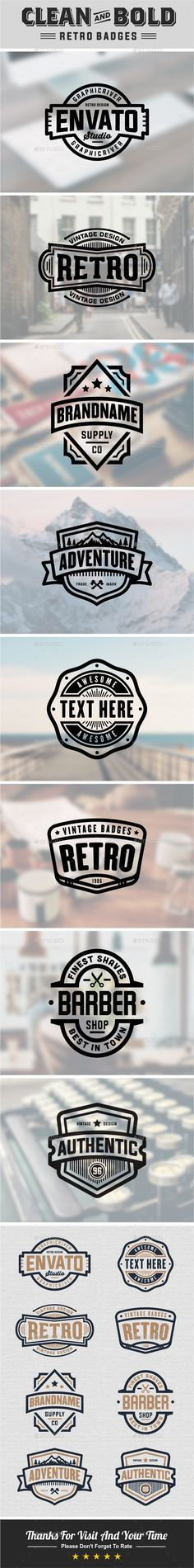 Clean And Bold Retro Badges. You can use as stamps, graphics, logos, etc. perfect for your vintage project.  FEATURES :  100 Full
