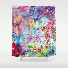Abstract Bright Watercolor Paint Splatters Pattern Shower Curtain