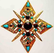 "CORO SIGNED VINTAGE  MALTESE CROSS 2 1/4"" X 2 1/4"""
