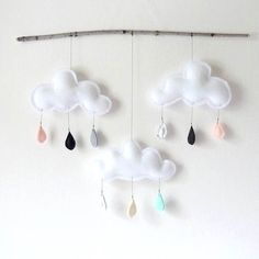 Rain Cloud Mobile Nursery Children Decor-Big Rain cloud mobile on branch-Neutral tones I Love NY by The Butter Flying. via Etsy
