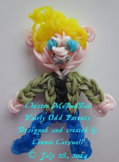 Rainbow Loom – Fairly Odd Parents Collection – Chester McBadBat (friend of Timmy) Designed and created by Connie Carswell, July 2014 © Connie Carswell ~ 2014 All Rights Reserved.