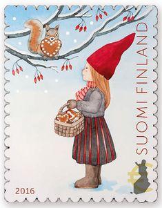 Joulupostimerkki 2016 / Christmas stamp 2016 in Finland Holidays In Finland, Sell Stamps, Stamp Catalogue, Winter Illustration, Scandinavian Folk Art, Postage Stamp Art, Christmas Night, Happy Art, Christmas Images