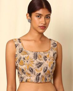 Buy Beige Indie Picks Kalamkari Print Cotton Sleeveless Blouse