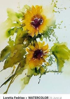 The Watercolour Log: October 2019 - paint and art Sunflower Art, Watercolor Sunflower, Watercolor Flowers, Sunflower Paintings, Watercolor Landscape, Abstract Watercolor, Watercolor Paintings, Watercolours, Watercolor Sketch