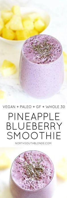 Pineapple Blueberry Smoothie (Vegan, Paleo, Gluten-free, Whole - Vegan smoothies - Vegan Smoothie Bowl Vegan, Smoothies Vegan, Smoothie Fruit, Healthy Breakfast Smoothies, Smoothie Drinks, Healthy Drinks, Healthy Snacks, Paleo Smoothie Recipes, Whole 30 Smoothies