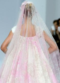Elie Saab Haute Couture spring 2012 okay I'm already married but I think the pink veil is just wonderful.  Perhaps a light, pale blue for something blue??  Just love it.