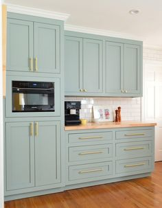 Tall Pantry Cabinets With Coffee Counter In Halcyon Green Blue Kitchen A Big Kitchen Makeover Created From Little Changes Tall Pantry Cabinet, Tall Kitchen Cabinets, Kitchen Cabinet Colors, Kitchen Microwave Cabinet, Green Cabinets, Oak Cabinets, Kitchen Colors, Kitchen Pantry Design, Big Kitchen