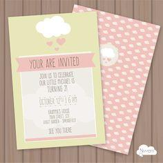 Cloud of love Invitation 2 - Editable & Printable  - INSTANT DOWNLOAD…