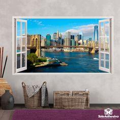 Vinilos de ventanas decorativos en Teleadhesivo Skyline, Decorative Windows, Bay Windows, Open Window, New York City, Vinyls, Special Effects, Scenery, Puertas